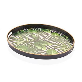 Bernardo - Yeşil Yaprak Desenli Oval Tepsi - 43x30 cm