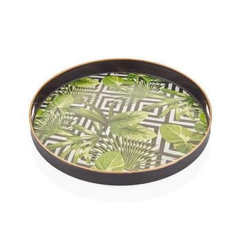 Bernardo - Yeşil Yaprak Desenli Yuvarlak Tepsi - 36 cm