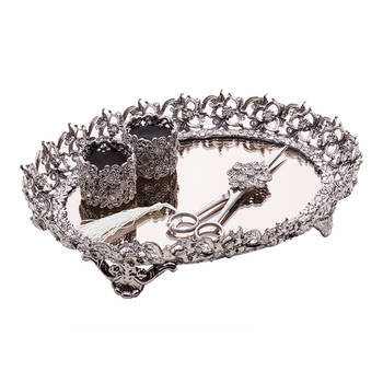 Biev - Yonca Gümüş Desenli Taşlı Söz Tepsisi Seti